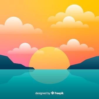 Paysage coucher de soleil plage dégradée
