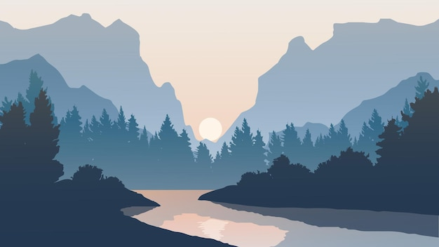 Paysage coucher de soleil avec rivière et montagne en silhouette