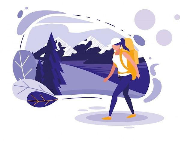 Paysage créatif avec montagnes et femme