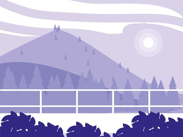 Paysage créatif avec des montagnes pourpres