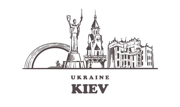 Paysage de croquis de kiev isolé sur blanc