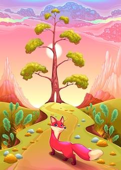 Paysage dans le coucher du soleil avec le renard vector illustration de dessin animé