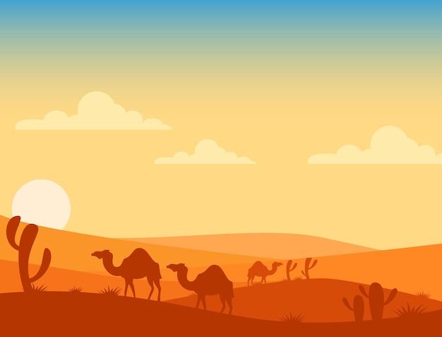 Paysage dans le désert et les chameaux se tenant là