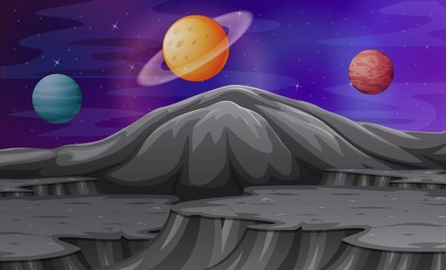 Paysage dans les montagnes de mars avec d'autres planètes