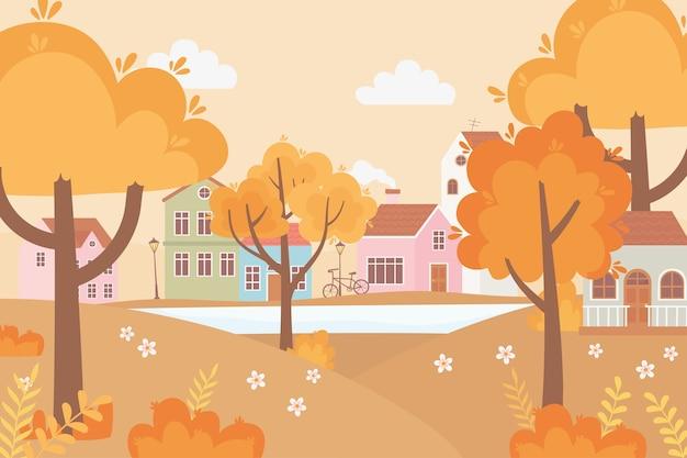 Paysage dans la scène de la nature d'automne, la bicyclette de la rue du village abrite des arbres, de l'herbe et des fleurs