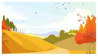 Paysage de campagne avec des arbustes et des prairies