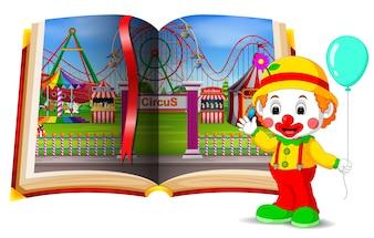 Paysage de parc d'attractions dans le livre et le clown