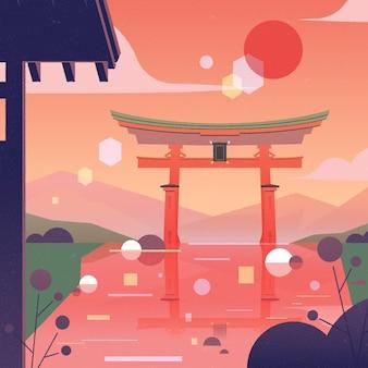 Paysage dégradé avec porte torii