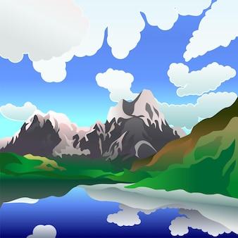 Le paysage dépeint un lac de montagne dans une journée d'été calme et nuageuse