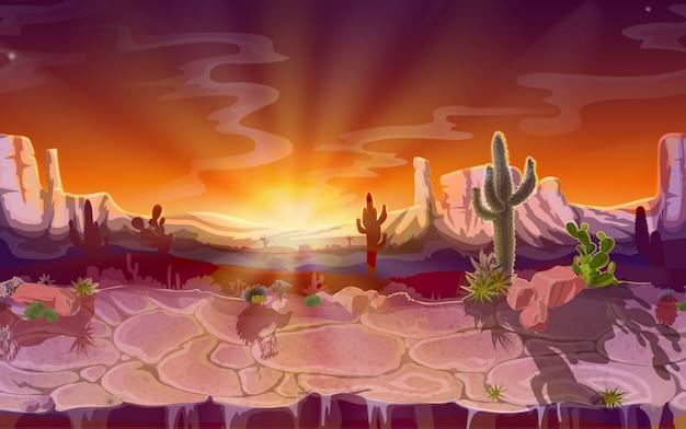 Paysage de désert, fond de jeu sans couture, panorama avec la nature