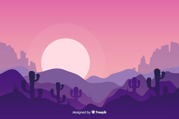 Paysage désertique au lever de la lune