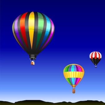 Paysage désertique avec des ballons multicolores volants