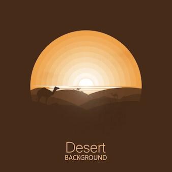 Paysage désertique, chameaux sous le soleil.