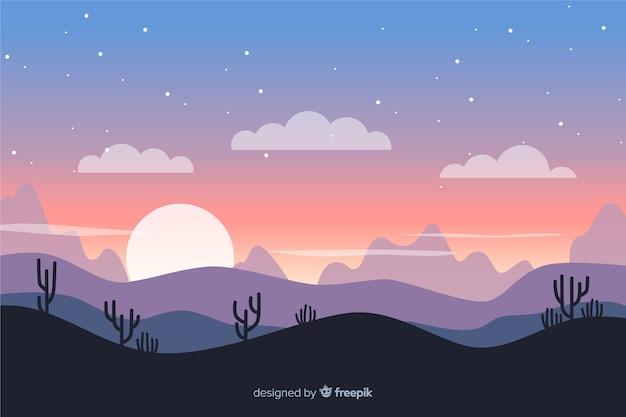 Paysage désertique avec coucher de soleil