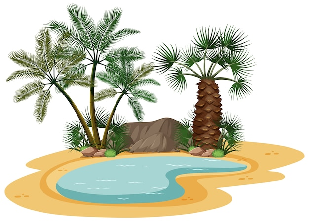 Paysage désertique avec des éléments d'arbres de la nature sur fond blanc