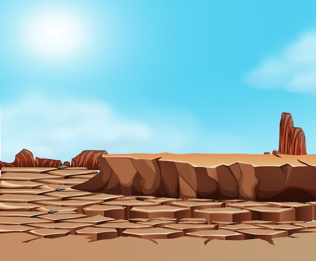 Paysage désertique fissuré par la sécheresse