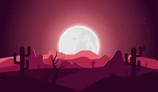 Paysage désertique avec nuit cactus montagne et pleine lune