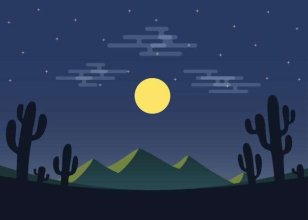 Paysage désertique de nuit avec montagne et cactus.