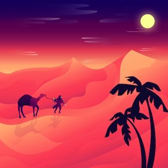 Paysage désertique plat de nuit