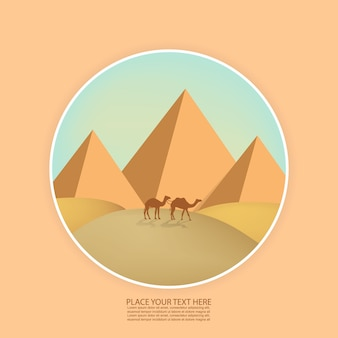 Paysage désertique avec des pyramides et des chameaux