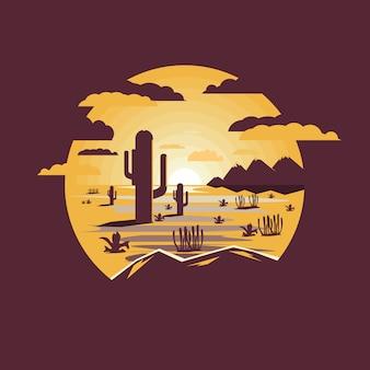 Paysage désertique avec saguaro cactus et montagnes.