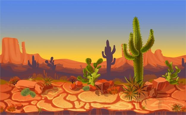 Paysage désertique sans soudure. arrière-plan de bannière jeu cartoon horizontal