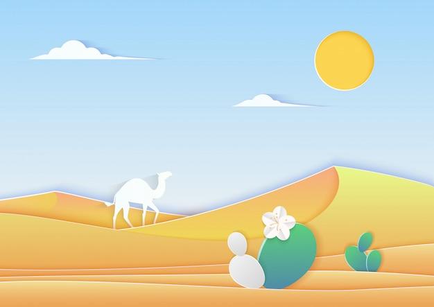 Paysage désertique de style découpé en papier à la mode avec illustration de chameau et de cactus.