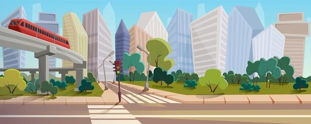 Paysage de dessin animé de carrefour urbain moderne