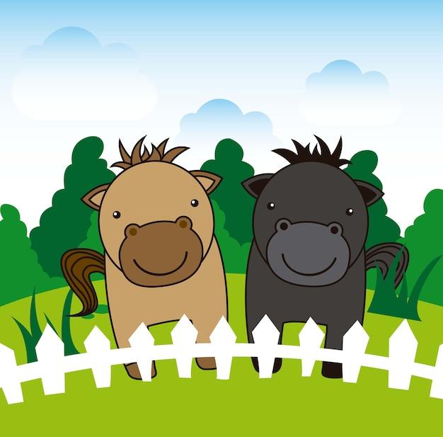 Paysage de dessin animé sur l'illustration vectorielle de cheval fond