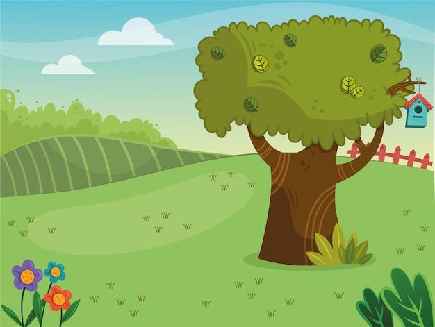 Paysage de dessin animé en illustration vectorielle de printemps
