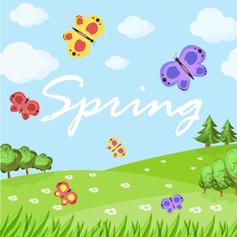 Paysage de dessin animé de printemps