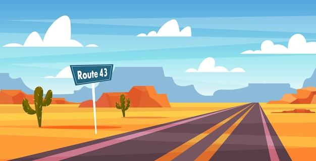 Paysage de dessin animé, route à travers le désert du nevada