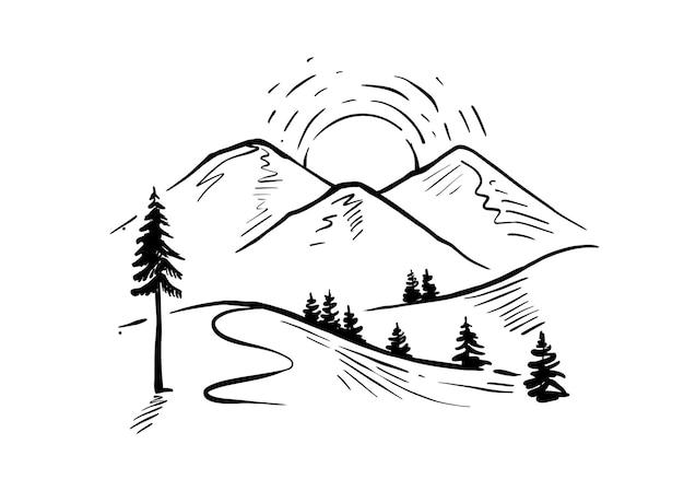 Paysage dessiné à la main avec des montagnes vecteur pics rocheux avec des arbres