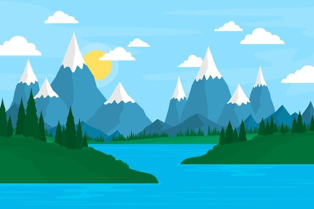Paysage dessiné à la main avec des montagnes