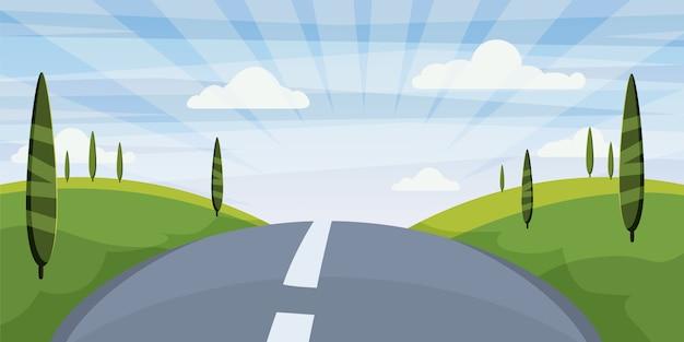 Paysage de dessins animés avec route, allée et été, mer, soleil, arbres.