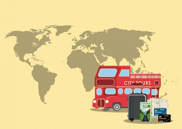 Paysage de dessins animés de voyages et de vacances