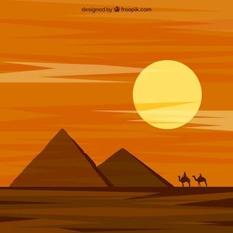 Paysage du désert avec des pyramides