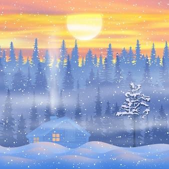 Paysage du nouvel an, soirée d'hiver, une maison dans une forêt enneigée, le soleil se couche
