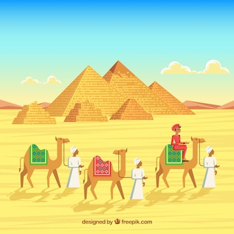 Paysage d'egypte avec caravane