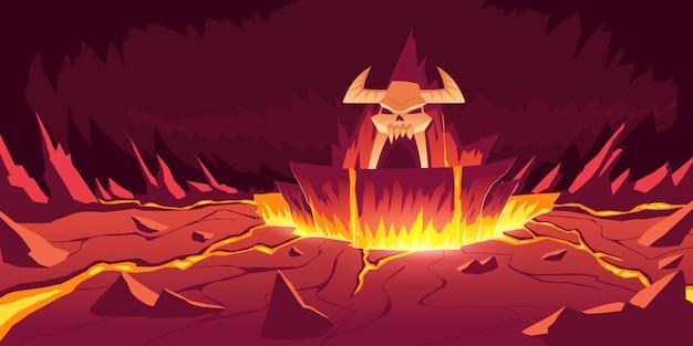 Paysage d'enfer, dessin animé infernal de grotte de pierre