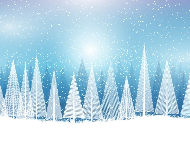 Paysage enneigé avec des arbres abstraits