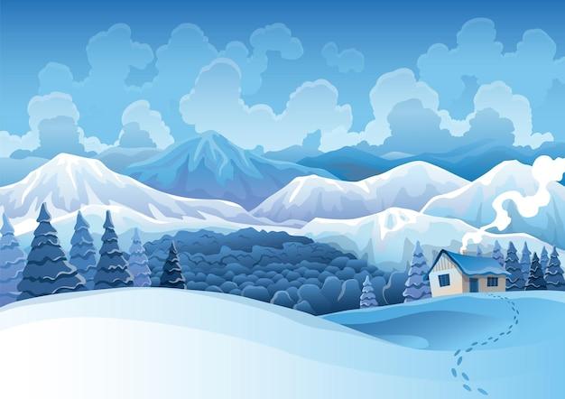 Paysage enneigé de montagnes d'hiver avec forêt de pins et collines en arrière-plan.
