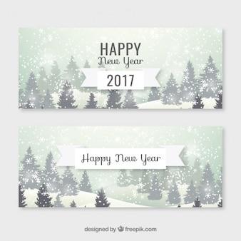 Paysage enneigé de nouvelles bannières de l'année