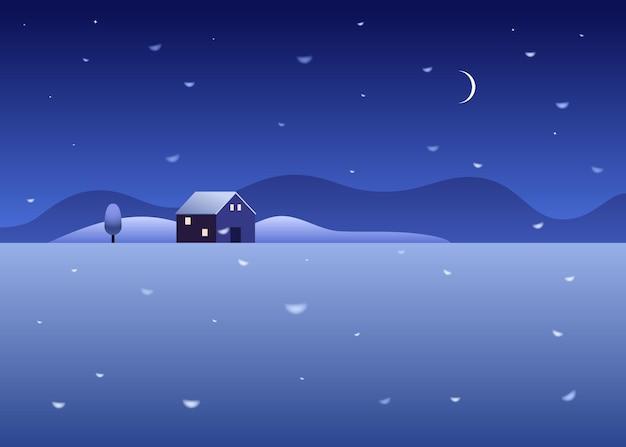 Paysage enneigé rural avec maison de campagne, arbre et montagnes. ciel étoilé de nuit avec des chutes de neige dans la campagne.