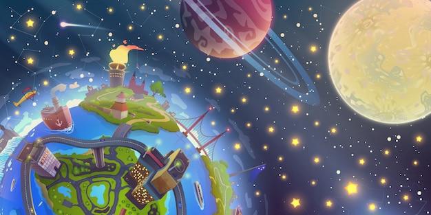 Paysage de l'espace fantastique avec la magie de la terre 3d sur le ciel nocturne avec des étoiles, la lune et les planètes