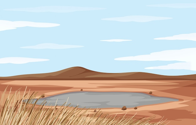 Paysage avec étang et terre sèche