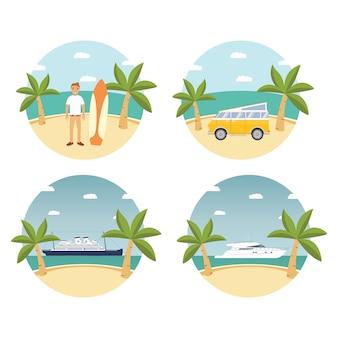 Paysage d'été île tropicale, plage de sable, palmiers. road trip rétro van. véhicule, voiture, bateau, yacht, croisière en mer sur un paquebot. personnage de dessin animé jeune homme surfant. vacances repos. croisière.