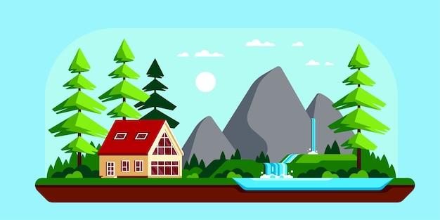 Paysage d'été avec lac et montagnes