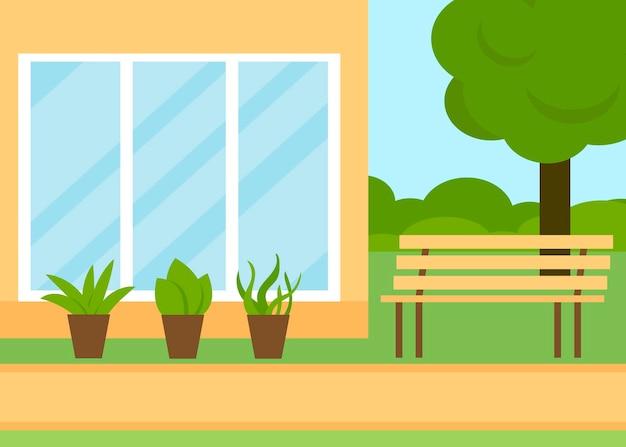 Paysage d'été avec maison de jardin et banc reste en plein air sur la nature