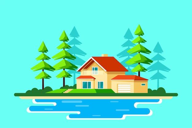 Paysage d'été avec pins et lac